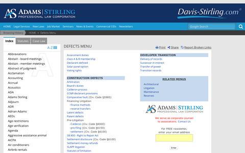 Screenshot of Developers Page davis-stirling.com - Defects Menu - captured Sept. 23, 2018