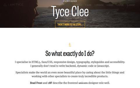 Screenshot of Home Page iamtyce.com - Tyce Clee | Senior UI Engineer - captured July 24, 2018