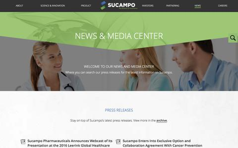 Screenshot of Press Page sucampo.com - News & Media Center «  Sucampo - captured Feb. 22, 2016