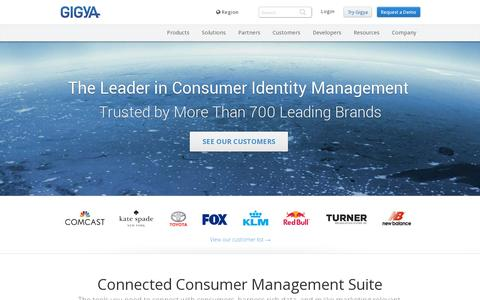 Screenshot of Home Page gigya.com - Connected Consumer Management | Gigya | Social Infrastructure - captured July 11, 2014