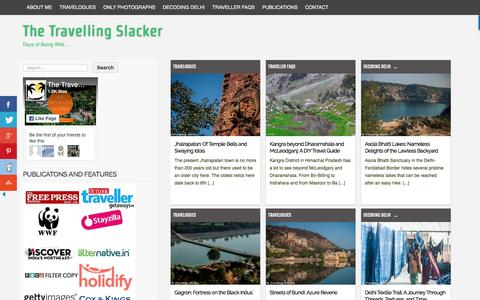 Screenshot of Home Page travellingslacker.com - Backpacking, Travel and Photography in the Indian hinterlands - captured Feb. 19, 2017