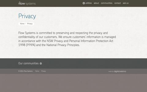 Screenshot of Privacy Page flowsystems.com.au - Privacy | Flow Systems - captured Oct. 27, 2014