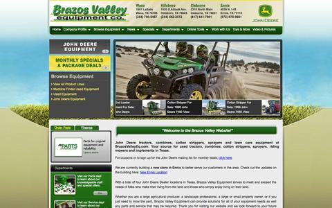 Screenshot of Home Page brazosvalleyeq.com - John Deere Tractors Combines Cotton Strippers Sprayers » BrazosValleyEq.com, TX - captured Oct. 5, 2014