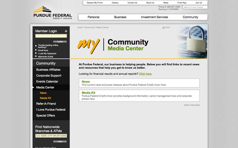 Screenshot of Press Page purduefed.com - Media Center | Purdue Federal Credit Union - Dedicated to the Purdue University campus community. - captured Jan. 21, 2016