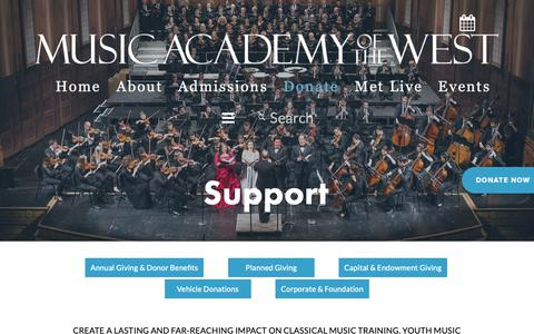 Screenshot of Support Page musicacademy.org - Donate — Music Academy of the West - captured Nov. 17, 2018