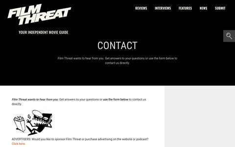 Screenshot of Contact Page filmthreat.com - Contact | Film Threat - captured Aug. 21, 2019