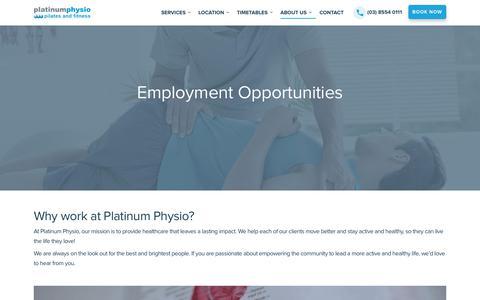 Screenshot of Jobs Page platinumphysio.com.au - Careers | Platinum Physio - captured July 19, 2018