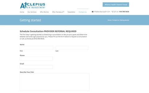 Screenshot of Testimonials Page asclepiuspain.com - Getting started  | Asclepius Pain Management - captured Oct. 4, 2014