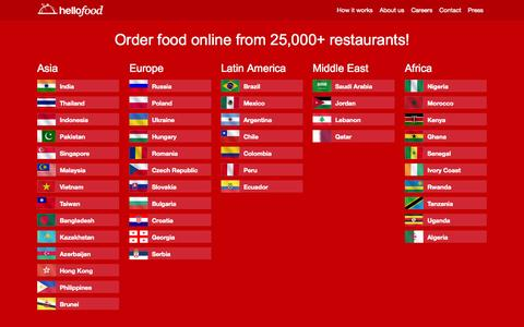 Screenshot of Home Page hellofood.com - Food Delivery | Order Food Online | hellofood - captured Sept. 19, 2014