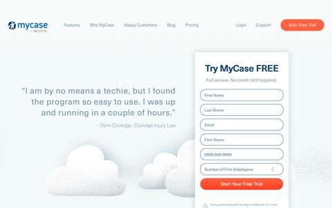 Screenshot of Trial Page mycase.com - Free Trial | MyCase Legal Practice Management Software - captured March 29, 2019