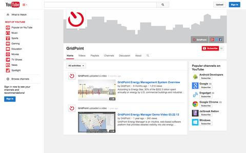 Screenshot of YouTube Page youtube.com - GridPoint  - YouTube - captured Oct. 22, 2014