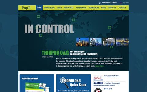 Screenshot of Home Page paqell.com - Paqell - Gas Desulpherisation and Sulphur Recovery with THIOPAQ O&G | Paqell - captured May 14, 2017