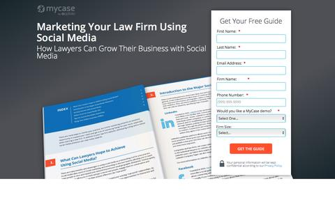 Screenshot of Landing Page mycase.com - Marketing Your Law Firm Using Social Media :: MyCase Legal Resources - captured May 17, 2017