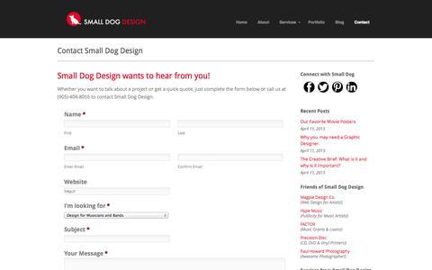 Screenshot of Contact Page smalldogdesign.ca - Small Dog Design Contact Small Dog Design - Small Dog Design - captured Sept. 30, 2014