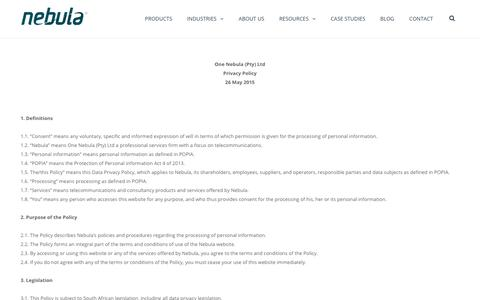 Screenshot of Privacy Page nebula.co.za - Privacy Policy - Nebula - captured Oct. 22, 2018
