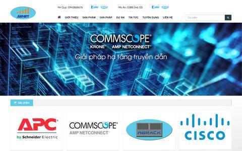 Screenshot of Home Page abnet.com.vn - Công ty TNHH Thiết bị mạng - Viễn thông An Bình. Địa chỉ: Số 3 - Ngách 39 - Ngõ 178 - Thái Hà - Đống Đa - Hà Nội - captured Nov. 27, 2018