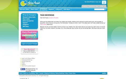 Screenshot of Team Page actionaccents.com - Action Accents - we've got what swimmers want. - captured Sept. 30, 2014