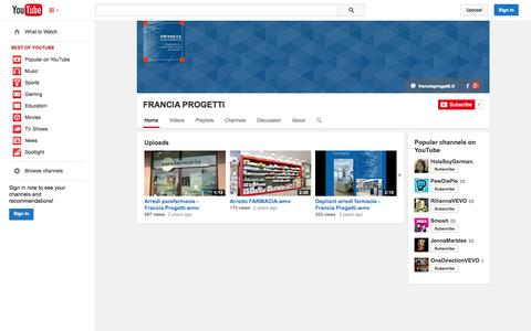 Screenshot of YouTube Page youtube.com - FRANCIA PROGETTI  - YouTube - captured Oct. 23, 2014