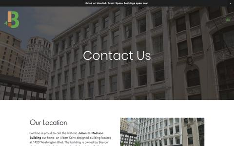 Screenshot of Contact Page bamboodetroit.com - Contact - Bamboo Detroit - captured Aug. 1, 2018
