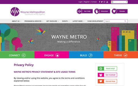 Screenshot of Privacy Page waynemetro.org - Privacy Policy - Wayne Metro Community Action Agency - captured Nov. 11, 2017