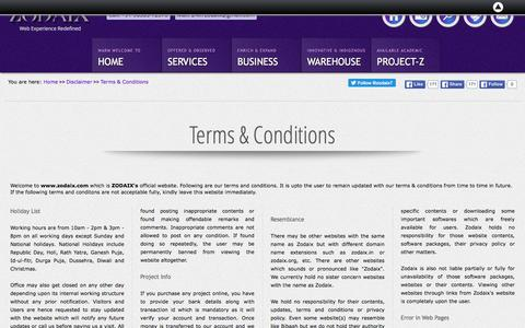 Screenshot of Terms Page zodaix.com - Terms & Conditions | Zodaix - captured April 23, 2016