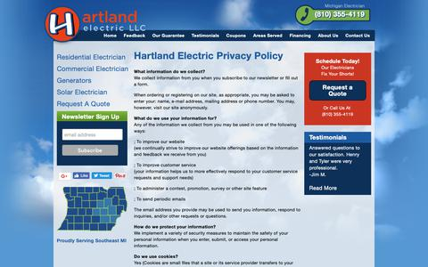 Screenshot of Privacy Page hartlandelectric.com - Hartland Electric Privacy Policy | Hartland Electric, a Michigan Electrician - captured Sept. 27, 2018