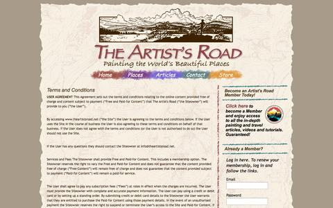 Screenshot of Terms Page theartistsroad.net - The Artist's Road - captured Oct. 7, 2014
