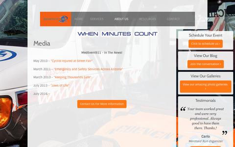 Screenshot of Press Page medevent911.com - Media - captured May 27, 2017
