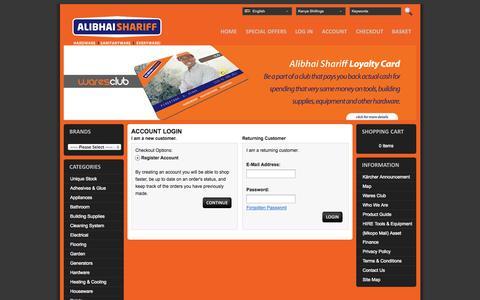 Screenshot of Login Page alibhaishariff.com - Account Login - captured Oct. 4, 2014