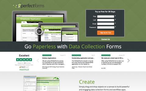 Screenshot of Landing Page perfectforms.com - Data Collection Forms - PerfectForms - captured Nov. 8, 2016