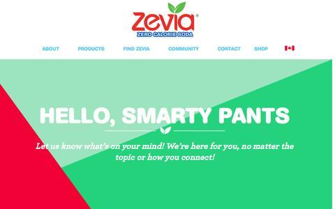 Screenshot of Contact Page zevia.com - Contact Zevia: Customer Service, Sales, Press and Supplier Inquiries, Social Media | Zevia Zero Calorie Soda - captured Dec. 5, 2015