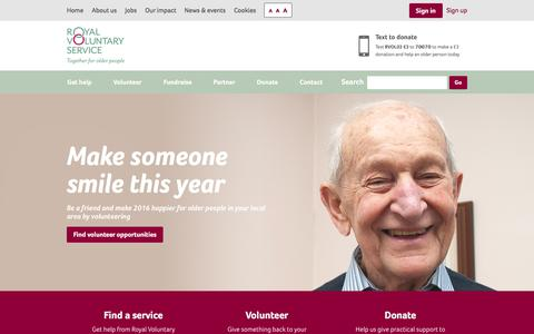 Screenshot of Home Page royalvoluntaryservice.org.uk - WRVS, now Royal Voluntary Service   Charity helping older people - captured Jan. 11, 2016