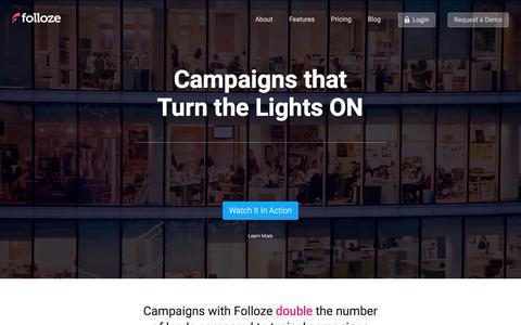 Screenshot of Home Page folloze.com - Folloze - Customer Engagement Platform - captured Jan. 8, 2016