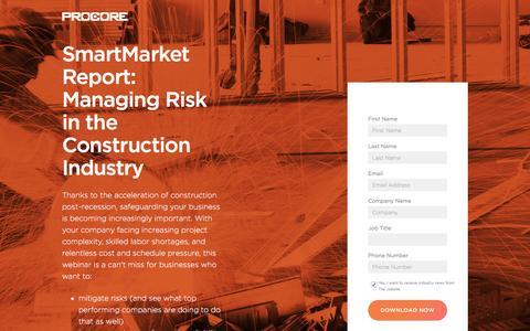Screenshot of Landing Page procore.com - SmartMarket Report: Managing Risk in the Construction Industry - captured Feb. 10, 2017