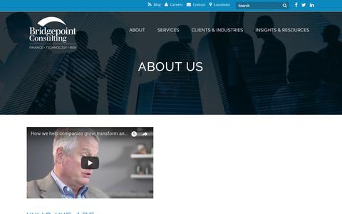 Screenshot of About Page bridgepointconsulting.com - Management Consulting Firm - Bridgepoint Consulting - captured Oct. 11, 2017