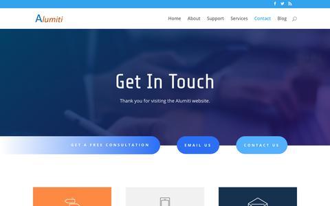 Screenshot of Contact Page alumiti.com - Contact - Alumiti LLC - captured July 29, 2018