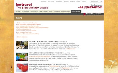Screenshot of Press Page inntravel.co.uk - Travel industry and activity holiday news from Inntravel - captured Sept. 19, 2014