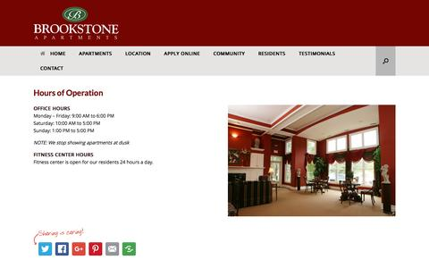 Screenshot of Hours Page brookstoneapartments.com - Hours of Operation - Brookstone Apartments - captured June 20, 2016