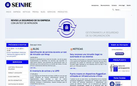 Screenshot of Home Page seinhe.com - SEINHE Seguridad Informática y Hacking Ético - captured Sept. 30, 2014