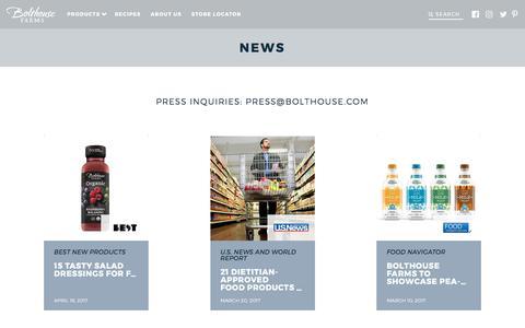 Screenshot of Press Page bolthouse.com - News - Bolthouse Farms - captured Oct. 23, 2017