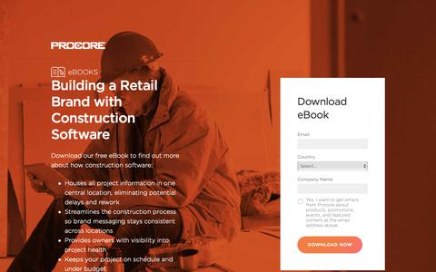 Screenshot of Landing Page procore.com - Building a Retail Brand with Construction Software - captured April 19, 2019