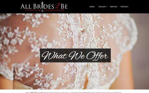 Screenshot of Services Page allbrides2be.com - Clearwater/Tampa Bay Wedding Dress & Formalwear Attire - captured Nov. 20, 2016