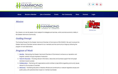 Screenshot of About Page hammondchamber.org - About | Greater Hammond Chamber of Commerce - captured June 24, 2016
