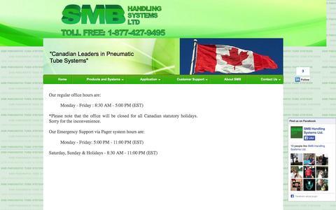 Screenshot of Hours Page smbhandling.com - SMB Handling Systems Ltd - captured Oct. 3, 2014