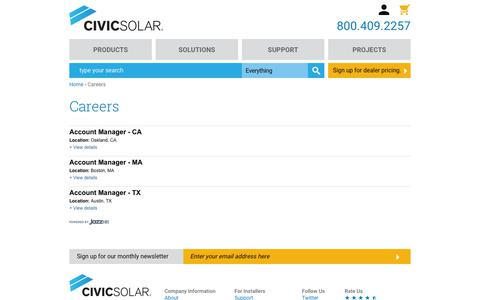 Screenshot of Jobs Page civicsolar.com - Careers | CivicSolar - captured May 18, 2019