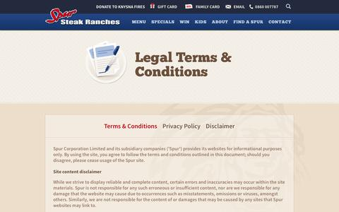 Screenshot of Terms Page spur.co.za - Spur Steak Ranches | Terms & Conditions - captured July 5, 2017