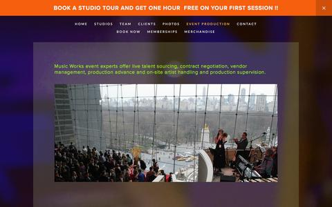 Screenshot of Services Page musicworksnyc.com - EVENT PRODUCTION — Music Works - captured Feb. 26, 2016
