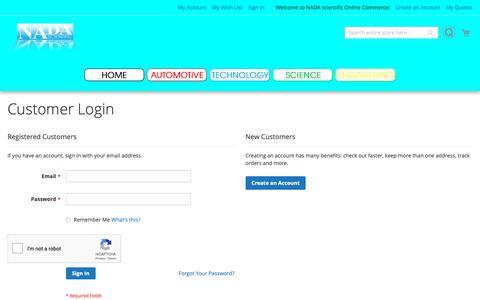 Screenshot of Login Page nadascientific.com - Customer Login  - NADA Scientific - captured Oct. 31, 2018