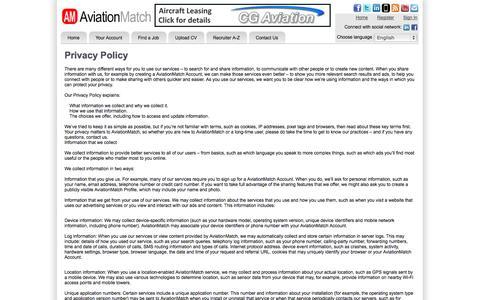 Screenshot of Privacy Page aviationmatch.com - Aviation Jobs - AviationMatch: Privacy Policy | Learn about the AviationMatch Cookie Policy - captured Oct. 4, 2014