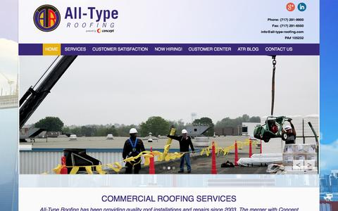 Screenshot of Home Page Menu Page all-type-roofing.com - All Type Roofing | Repair, Installation, Service - captured Oct. 4, 2014